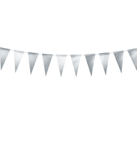 PartyDeco - Bunting, silver (1 ks)