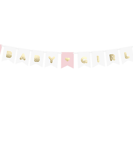 PartyDeco - Banner Baby Girl, mix (1 ks)