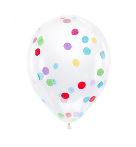 Party balonky s konfetami - circles,  Ø 30 cm, mix (6 ks) - BL01-0004