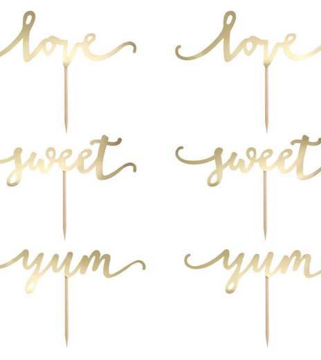 Zápich - Cupcake toppers Love, gold (6 ks) - ZP4003