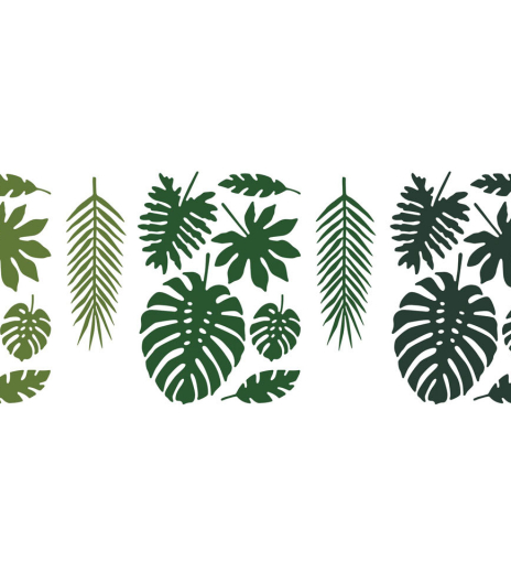 PartyDeco - Decorations Aloha - Tropical leaves, mix (21 ks) - DS022