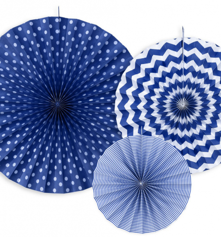 PartyDeco - Decorative Rosettes, navy blue (3 ks) - DS017