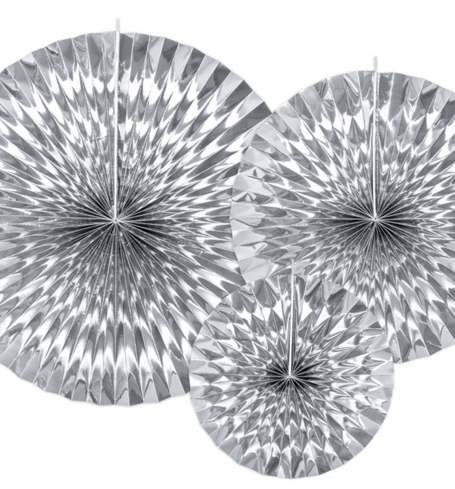 PartyDeco - Decorative Rosettes, silver (3 ks) - DS018