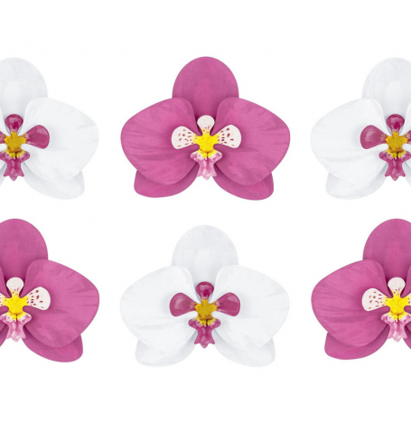 PartyDeco - Paper decorations Aloha - Orchids (6 ks) - DS008