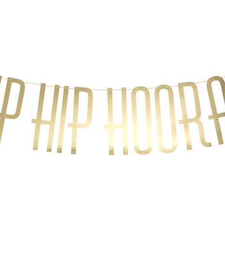 PartyDeco - Banner Hip Hip Hooray, gold (1 ks)