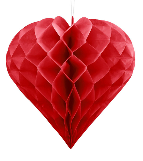 PartyDeco - Honeycomb Heart, red, Ø 30 cm (1 ks)