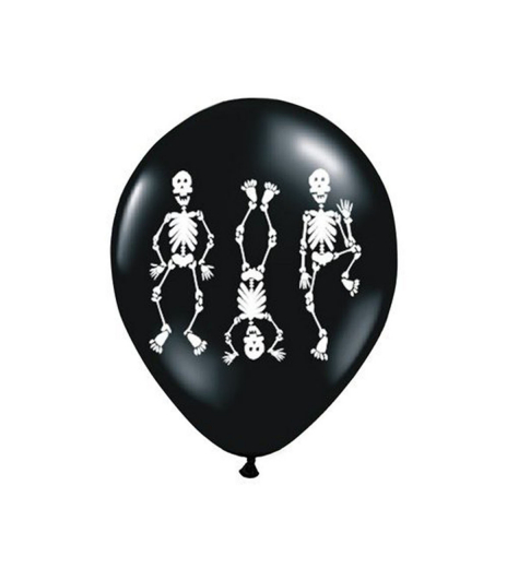 Party balonky Ø 30 cm, Skeletons, Pastel Black (6 ks) - BL04-0002